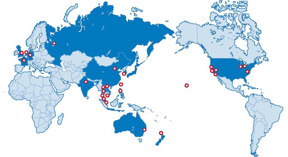 業務を行っている地域が記された世界地図